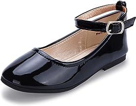HEHAINOM Girls Toddler Little Kid Dress Shoes Mary Jane Ballet Flats with Ankle Strap for Flower Girl