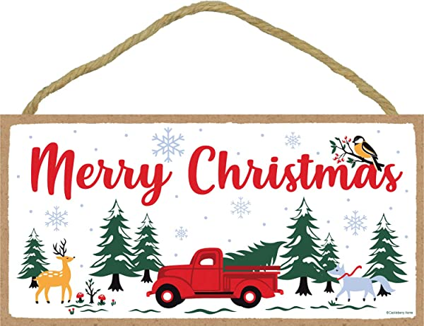 Cackleberry Home Merry Christmas Vintage Red Farm Truck Woodland Sign Twine Hanging Rope 5 X 10 Inches