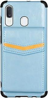 جراب محفظة EnjoyCase لهاتف Samsung Galaxy A20/A30، حامل بطاقات خلفي من جلد البولي يوريثان مضاد للصدمات مزود بمشبك تثبيت خل...