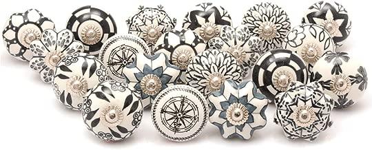 Zahra Premium Quality Assorted Ceramic Knobs- Multi Color Mix Designed Ceramic Cupboard Cabinet Door Knobs Drawer Pulls & Chrome Hardware (20, Black & White)