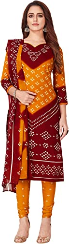 Women s Orange Maroon Synthetic Printed Unstitch Dress Material with Dupatta OM 0059719