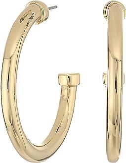 LAUREN Ralph Lauren - Riding High Large Metal 3/4 Hoop Earrings