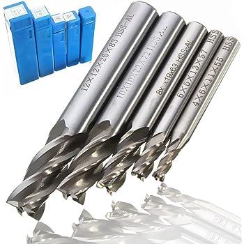 VGEBY 超硬エンドミル フライスシャンク 加工用カッター 4刃 鋼製 HSS-AL ストレート 5本入り 4mm 6mm 8mm 10mm 12mm セット