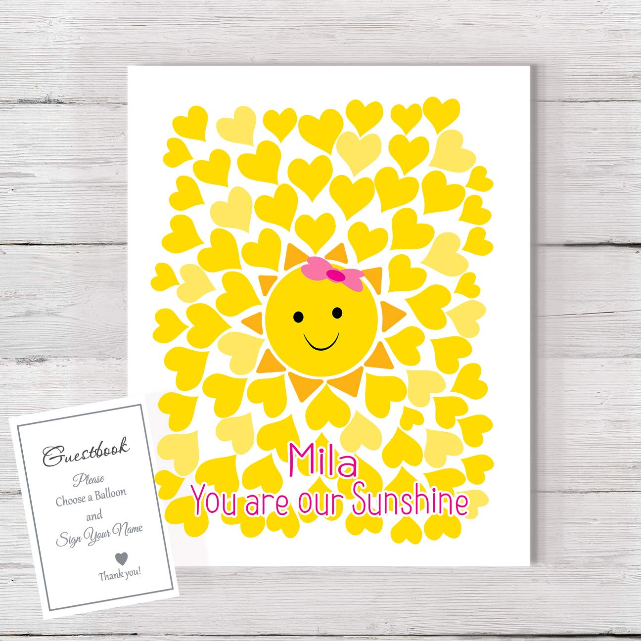 BabyShower Guestbook low-pricing sunshine yellow sh Max 87% OFF alternative balloon baby