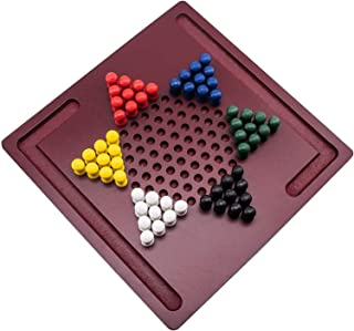 Chess Board Chinese Checkers Board Game By Mini Wooden Travel Set With Coloured Pegs for Kids 8 X 8 Inches