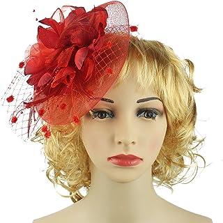 HOLDOOR Feather Fascinators Big Flower Fascinator Pillbox Hat Headband Clip  for Wedding Derby Party 5f57723f47c5