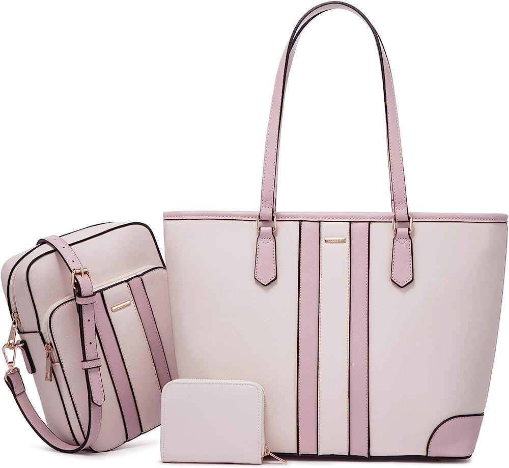 Lovevook, borsa da donna a mano, piu` borsello a tracolla, in pelle sintetica, rosa