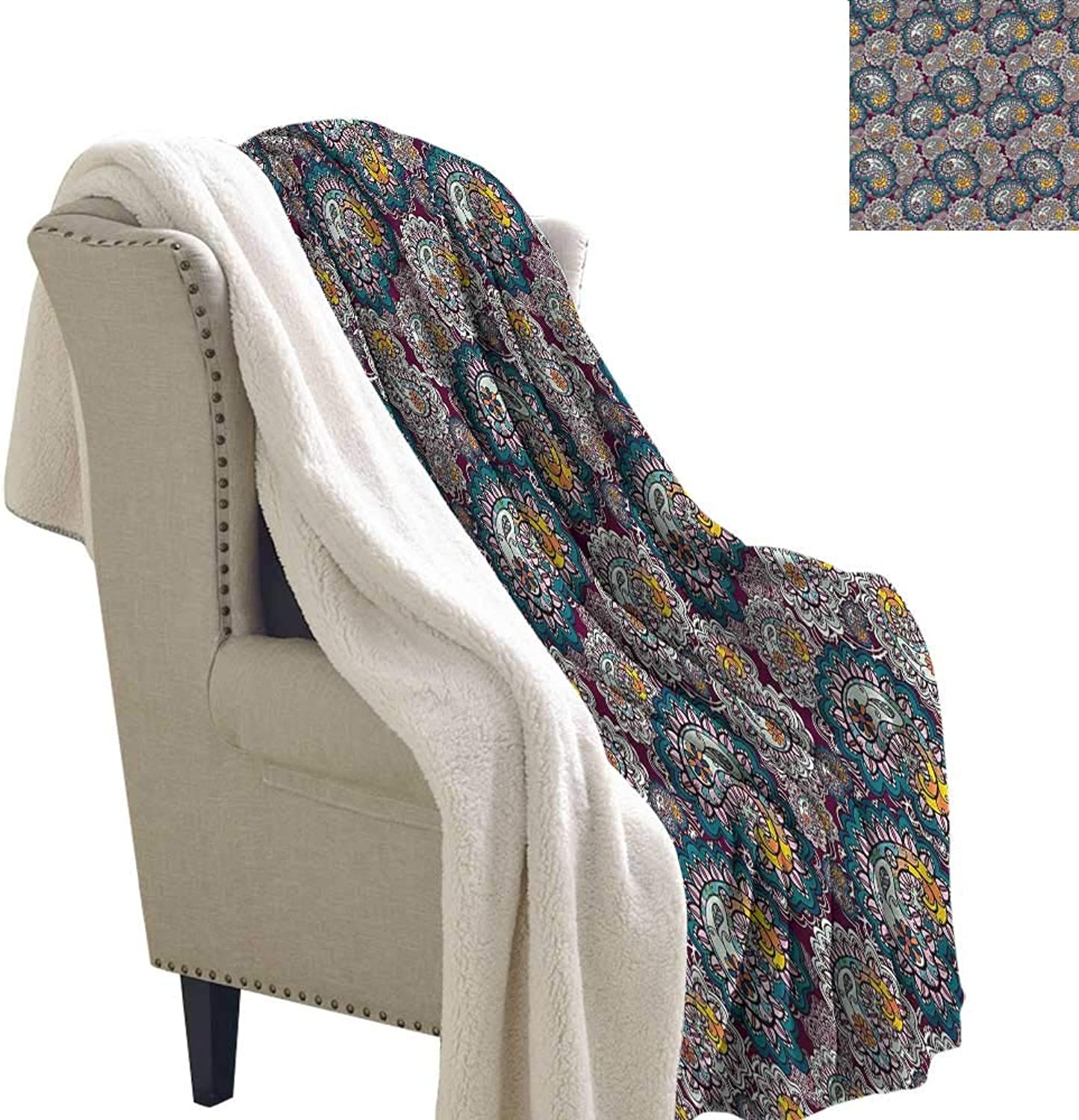 Beihai1Sun Paisley Blanket Small Quilt Vintage Lively Arrangement Degrees of Comfort Weighted Blanket 60x32 Inch