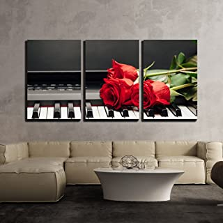 wall26 - 3 Piece Canvas Wall Art - Piano Keys and Red Rose with Copy-Space - Modern Home Decor Stretched and Framed Ready to Hang - 16