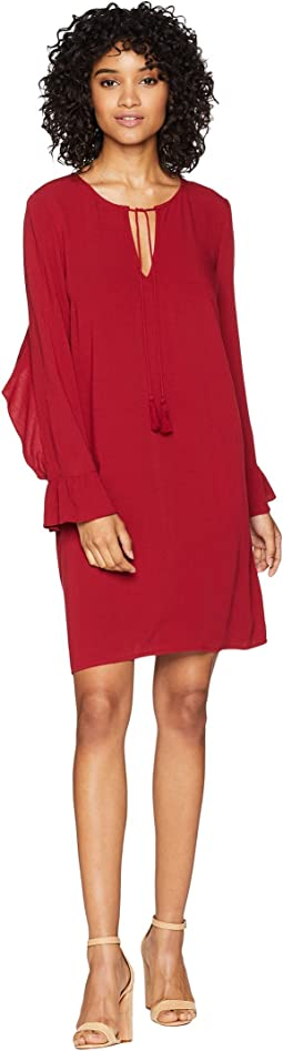 No Limit Crepe Dress with Back Ruffle