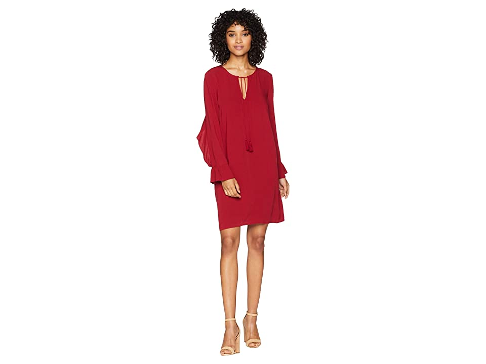 Jack by BB Dakota No Limit Crepe Dress with Back Ruffle (Currant Red) Women
