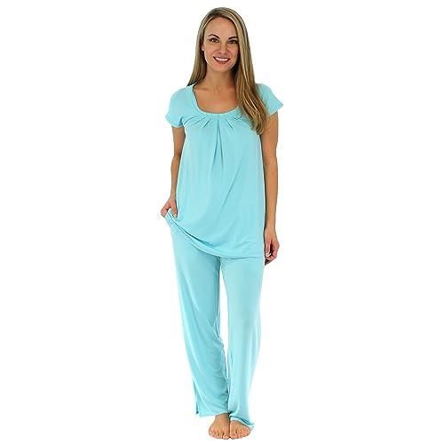 05bc92d868 PajamaMania Ladies Soft Viscose Short Sleeve Top and Bottom Pyjama Sleepwear  Set