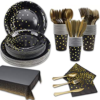 169Pcs Black and Gold Party Supplies Disposable Dinnerware Sets 24 Guests-Black Gold Paper Plates Napkins Cups Tablecloth ...