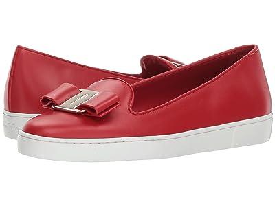 Salvatore Ferragamo Novello Leather Bow Slip-On Sneakers (Lipstick) Women