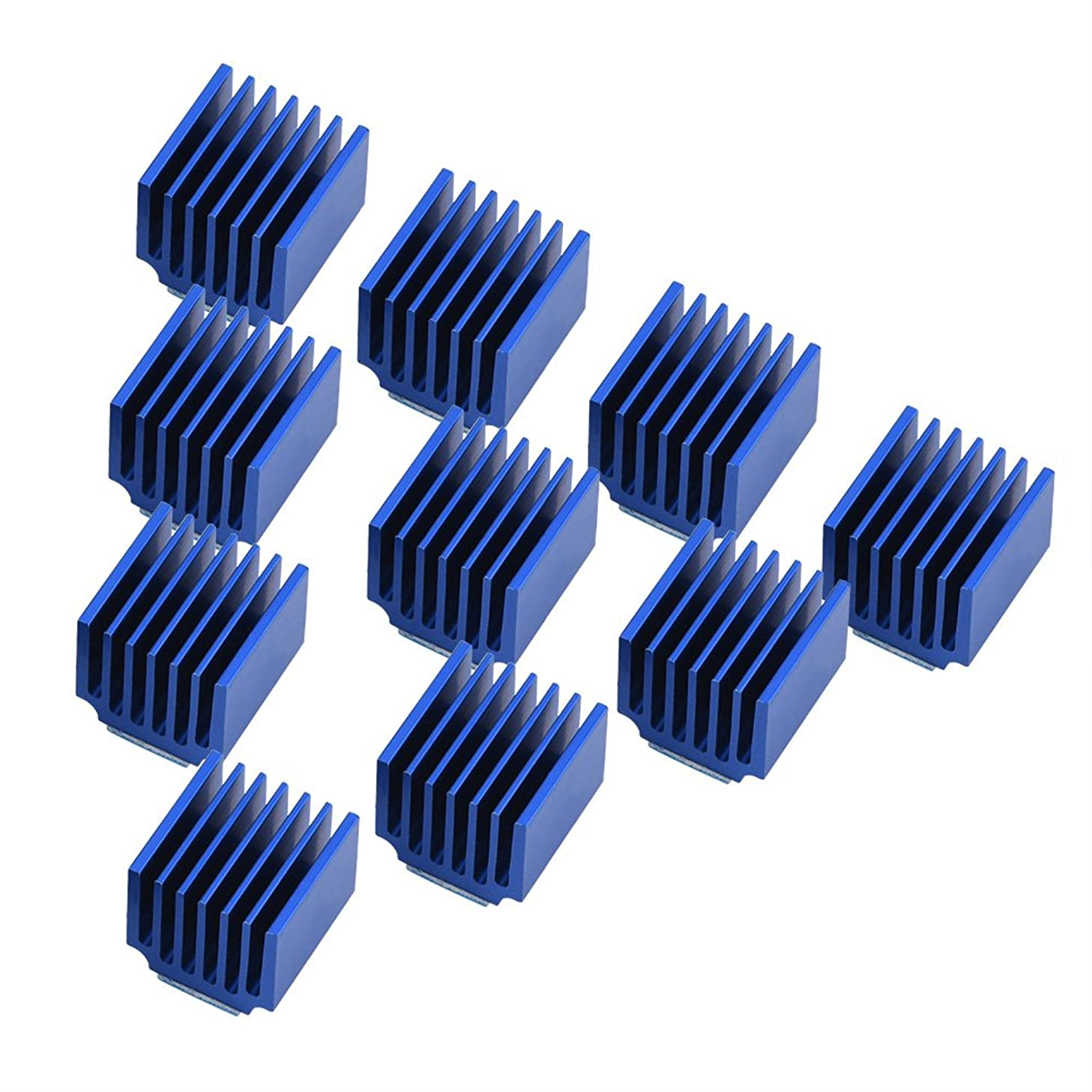 ASHATA 10 Pcs Heat Sink with Adhesive for Stepper Motor Driver, Aluminum Cooling Fin with Back Glue for 3D Printer DIY Tools Replacement Component