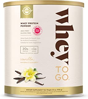 Solgar Whey to Go Whey Protein Powder, Vanilla, 33 oz - Whey Protein Isolate and Concentrate - Mixes Easily for Smooth Tas...
