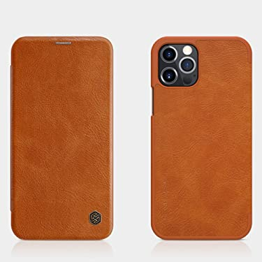 """Nillkin Case for Apple iPhone 12 / Apple iPhone 12 Pro (6.1"""" Inch) Qin Genuine Classic Leather Flip Folio + Card Slot Brown Color"""