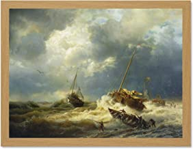 Doppelganger33 LTD Painting Seascape Maritime Achenbach Ships Storm Dutch Coast Large Framed Art Print Poster Wall Decor 18x24 inch Supplied Ready to Hang