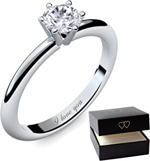 204312ee7 Engagement Rings for Women by AMOONIC made with * Zirconia* Proposal Ring  Silver 925 Ring