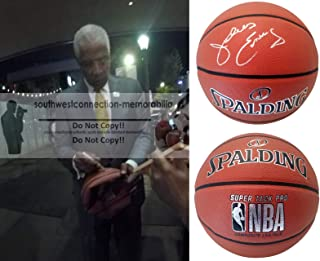 Dr. J Julius Erving Philadelphia 76ers Autographed Hand Signed NBA Spalding Basketball with Exact Proof Photo of Signing and COA- New York Nets, Virginia Squires, UMass Massachusetts Minutemen