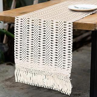 Aparty4u Chemin de Table en macramé pour décoration de Table de Mariage, Couverture en Coton tissé à la Main avec Pompons ...