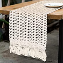 PartyTalk Natural Macrame Table Runner Cotton Crochet Lace Boho Wedding Table Runner with Tassels for Bohemian Rustic Wedding Bridal Shower Home Dining Table Decor, 12 x 108 Inch