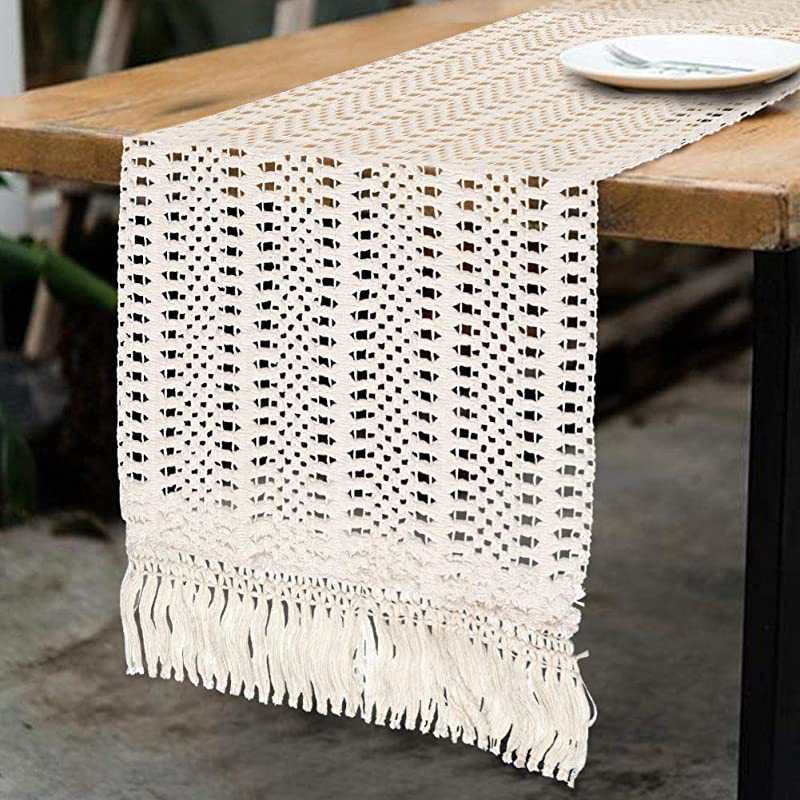 OurWarm Natural Macrame Table Runner Cotton Crochet Lace Boho Wedding Table Runner With Tassels For Bohemian Rustic Wedding Bridal Shower Home Dining Table Decor 12 X 108 Inch