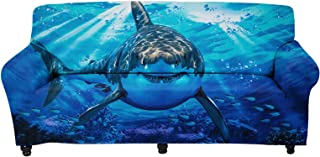 Stretch Sofa Slipcover 1-Piece Couch Sofa Cover Furniture Protector Non Slip Soft Cushion Cover -Sea Animal Shark Pattern ...