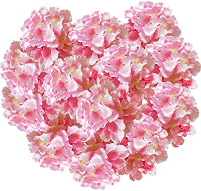 Hukidoy Artificial Hydrangea Heads Fake Silk Flowers Faux Floral Home Party Wedding Decor, Pack of 10 (Pink)