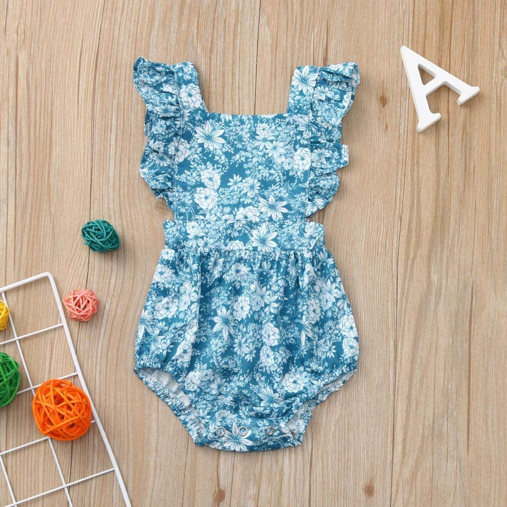 Womola Infant Baby Girl Sleeveless Floral Print Romper Backless Bodysuit One-Piece Sister Clothes