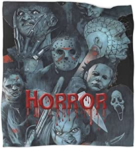 Halloween Horror Movie Flannel Fleece Blanket Super Soft Lightweight Plush Throw Blankets for Bed Chair Sofa Couch Home Decor All Season for Adult Kids Gift 50