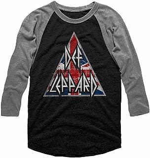Def Leppard 80s Heavy Metal Band RocknRoll Brit Flag Logo Adult Raglan T-Shirt T