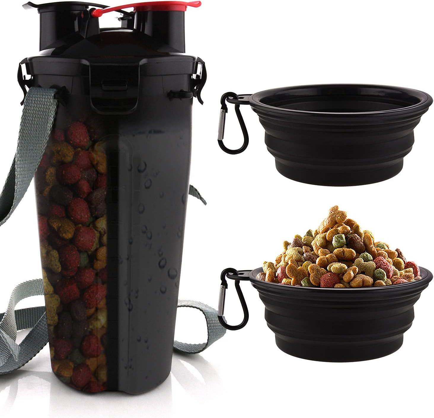 MATT SAGA Botella de Agua para Perros Portatil Envase de Comida para Perros con 2 Plegable Tazones para Perros Gatos Mascotas Adecuado para al Aire Libre Caminar Viajar (Negro)