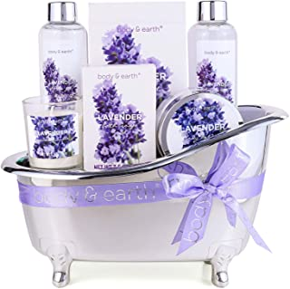 Spa Gifts for Women,Body & Earth Lavender Scented , Gifts Set for Women ,7 Pcs Spa Gift with Shower Gel, Bubble Bath, Bath...