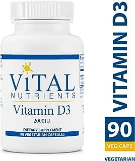 Vital Nutrients - Vitamin D3 2,000 IU - Supports Calcium Absorption and Bone Health - Gluten Free - 90 Vegetarian Capsules per Bottle