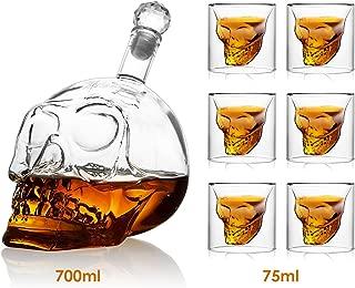 Amzdeal Set de 6 Vaso de Cristal con 700ML Botella, Vaso en Forma de Cráneo, para Whisky Vino Cerveza, Buen Regalo para Navidad Halloween Cumpleanos