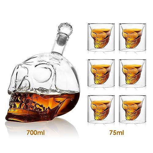 Amzdeal Bouteille de Vin 700ml avec 6 Verres à Vin 75ml en Forme de Crâne Carafe de Vodka /Whisky en verre cristal transparent
