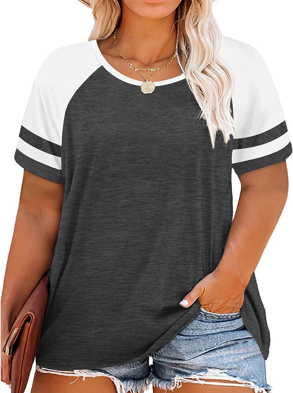 VISLILY Womens Plus-Size Tops Color Block T Shirts Short Sleeve Tunics XL-4XL