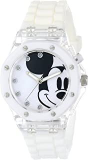 Disney Kids' MK1273 Mickey Mouse Flashing-Dial Watch with White Rubber Band