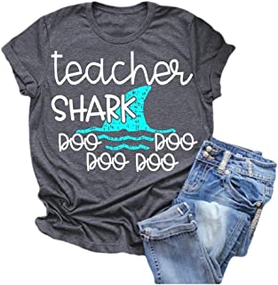 Comaba Women Casual Letter Printed Teacher Shark Short Sleeves T-Shirt Blouse