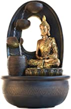 eCraftIndia Golden Textured Lord Buddha with Round Base Polystone Water Fountain (27 cm x 27 cm x 42 cm, Brown)