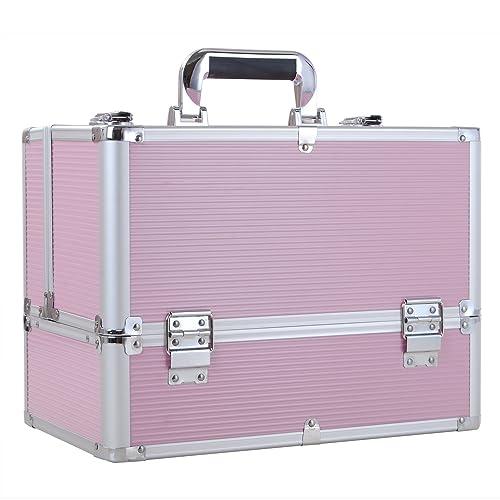 Funime Large Make up Box Nail Polish Jewellery Cosmetic Box Beauty Vanity Case (Pink)