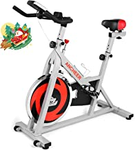 ANCHEER Indoor Cycling Bike Stationary, Belt Drive Exercise Bike with Comfortable Seat Cushion, Workout Bikes with LCD Monitor, for Home Office Exercise