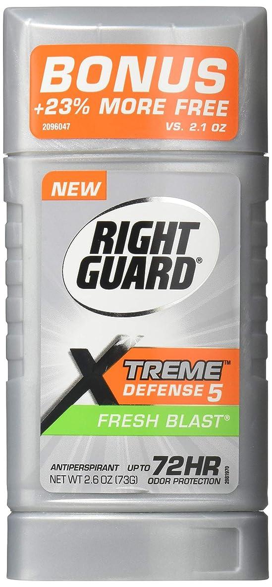 立場良心お風呂Right Guard エクストリーム防衛5制汗&デオドラント、新鮮なブラスト2.6オズ(6パック)