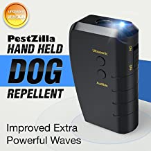 PestZilla Handheld Dog Repellent and Trainer + LED Flashlight / Ultrasonic Dog Deterrent and Bark Stopper + Dog Trainer Device [UPGRADED VERSION]