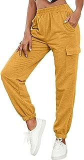 Nuofengkudu Donna Harem Jogger Pantaloni con Tasconi Vita Alta Larghi Lunghi Elastico Caviglia Classico Fitness Pantalone ...