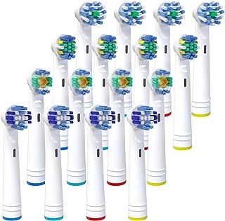 iTrunk Paquete 16 cabezales de cepillo de dientes para oral b,cabezales de reemplazo Compatible con Pro700Pro5000Pro6500,incluyendo 4 Cross, 4 Precision Clean,4 Floss y 4 3-D Whitening