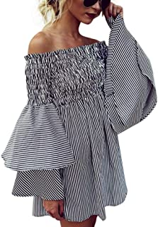 Women Dress,IEason Womens Holiday Off Shoulder Stripe Party Ladies Casual Dress Long Sleeve Dress