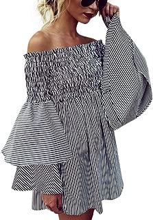 Women Dress,IEason Womens Holiday Off Shoulder Stripe Party Ladies Casual Dress Long Sleeve Dress