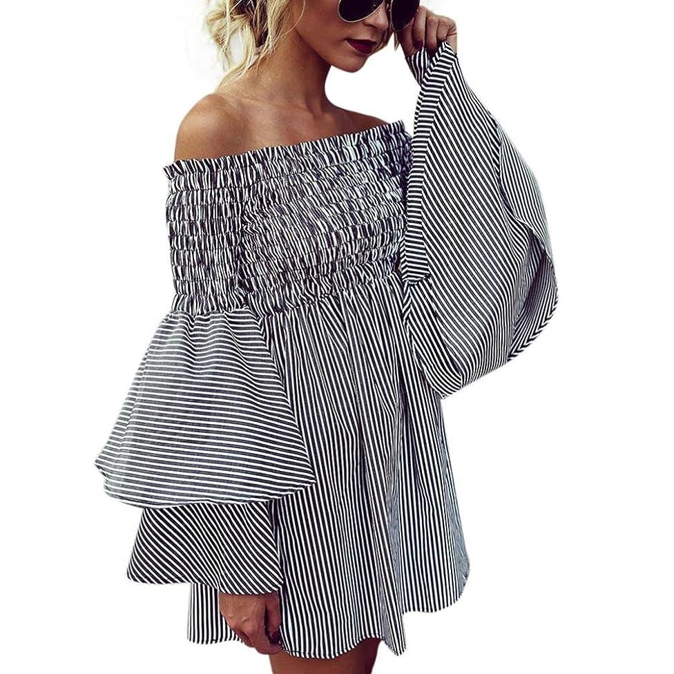 Women Dress,IEason Womens Holiday Off Shoulder StripeParty Ladies Casual Dress Long Sleeve Dress